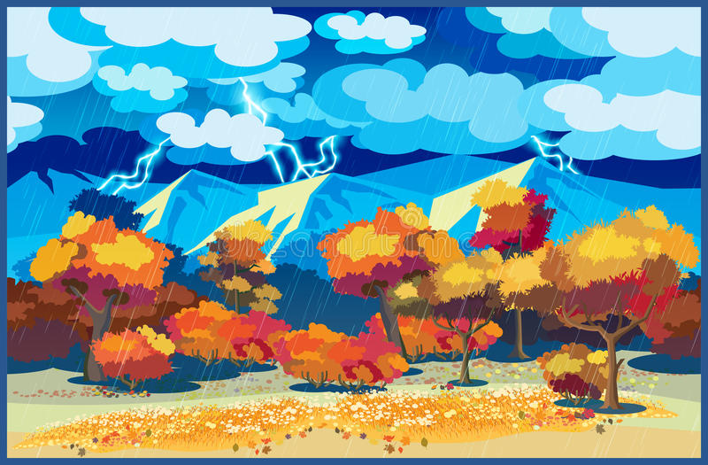Jesień las w burzy ilustracji
