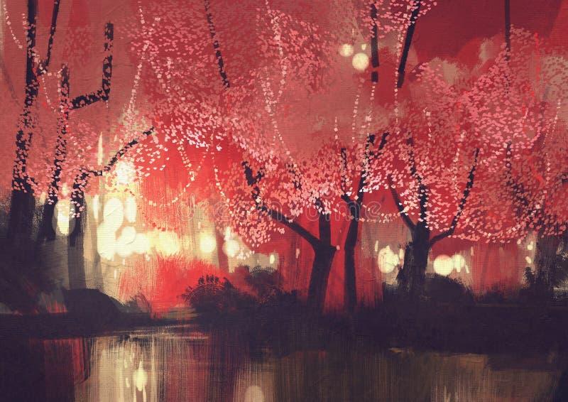 Jesień lasowy obraz ilustracja wektor