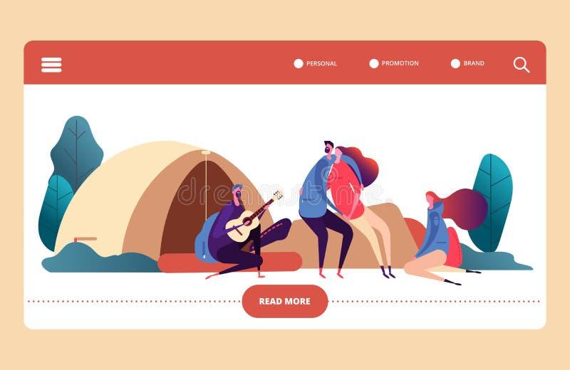 Jesień lasu obozu strony internetowej wektoru szablon Wycieczkuje i obozuje plenerowa aktywność Młodzi ludzie z gitarą, plecaki ilustracji