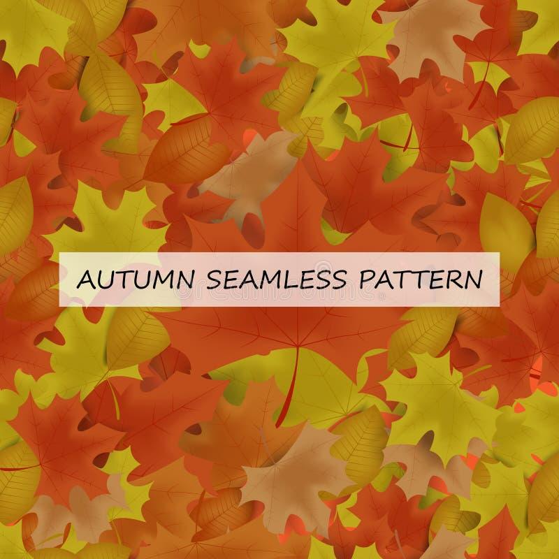 Jesień leafs bezszwowy wzór dla tła, tapeta, tkanina ilustracja wektor