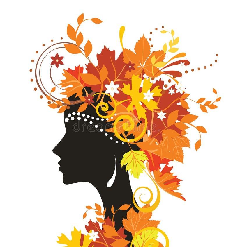 jesień liść kobieta ilustracja wektor