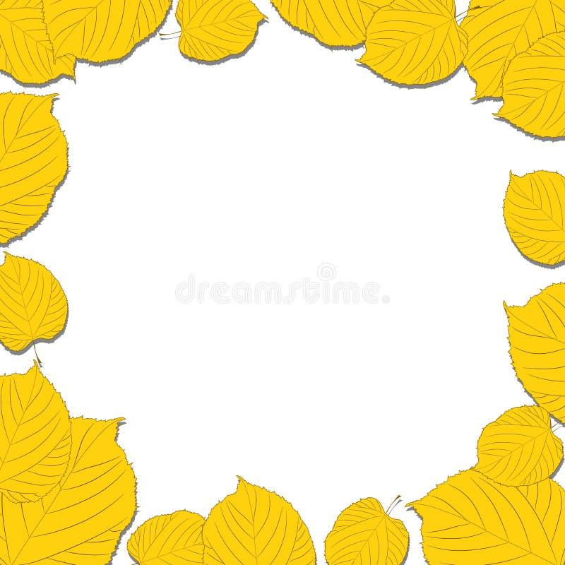 Jesień liść rama na biały zrzutu cieniach ilustracji