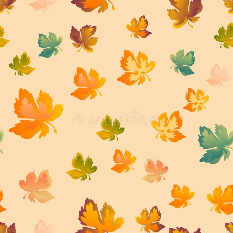 Jesień liści bezszwowy wzór, wektorowy tło Rewolucjonistki, koloru żółtego i zieleni liść klonowy Dla projekta tapeta, tkanina royalty ilustracja