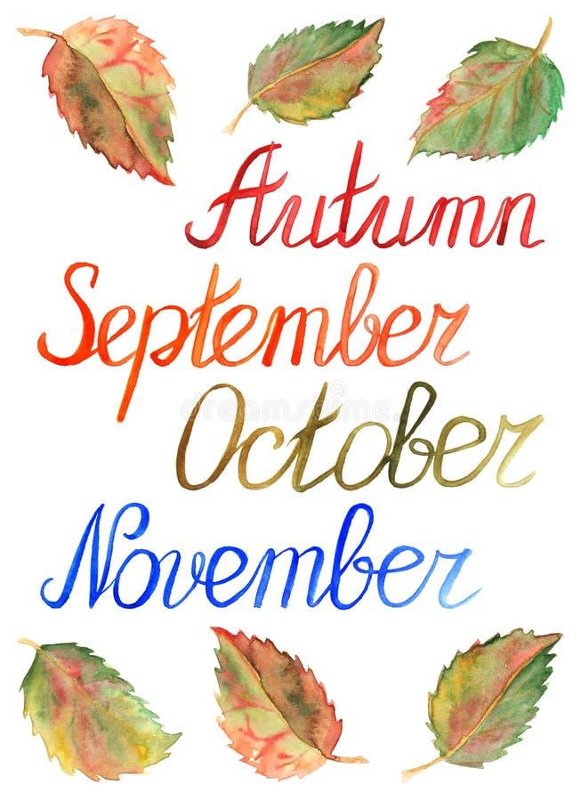 Jesień liści miesiąca Września Październik Listopad sezonu typograficzny set ilustracja wektor