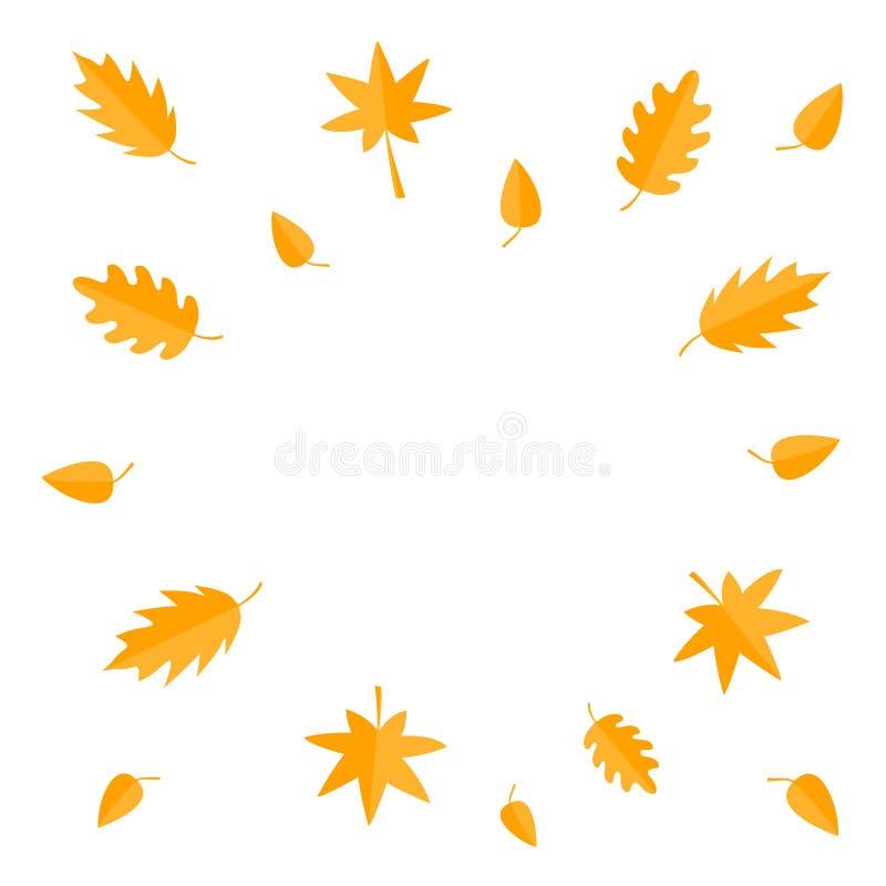 Jesień liści rama Żółty pomarańczowy latający liścia set Dąb, klon, brzoza, rowan Wiatrowi chodzenie przedmioty Szablon dla dekor ilustracja wektor