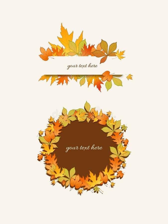 Jesień liści rama ilustracji