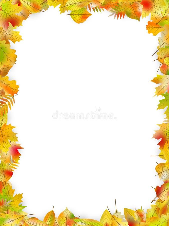 Jesień liści rama odizolowywająca na bielu EPS 10 wektor royalty ilustracja