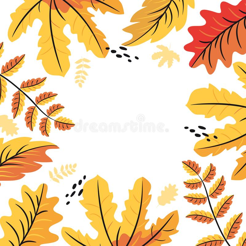 Jesień liści tło, rama dla inskrypcji ilustracja wektor