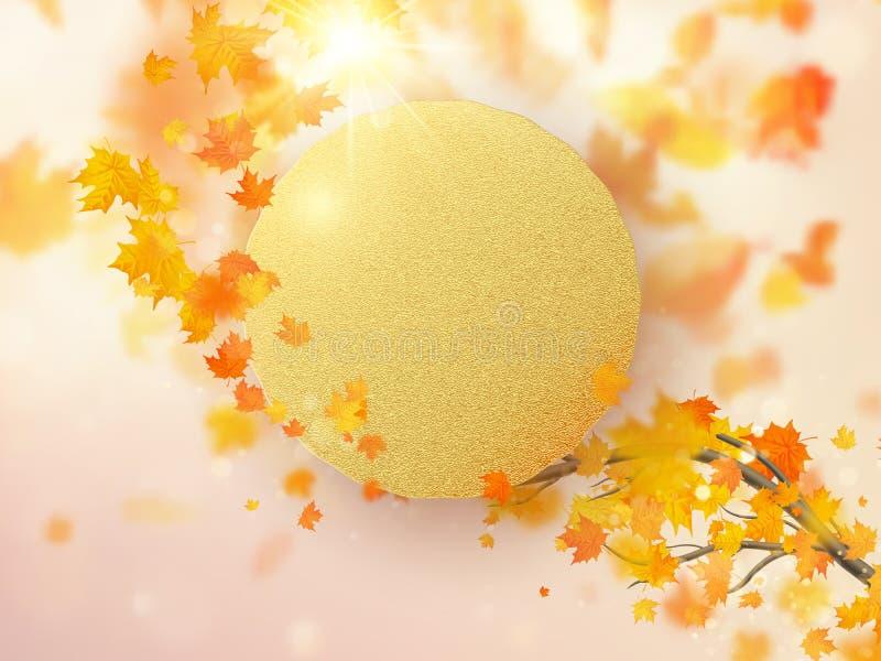 Jesień liści tło z czerwienią, pomarańcze i żółtym spadać, 10 eps royalty ilustracja