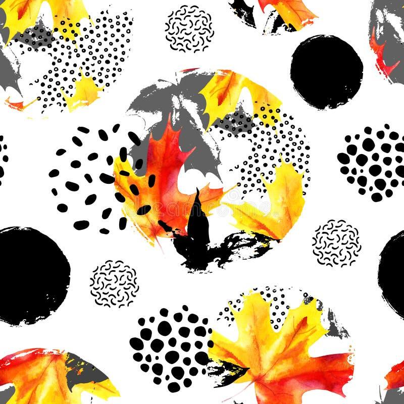 Jesień liści watercolour bezszwowy wzór Wręcza patroszonego liść klonowego, doodle, grunge, skrobanin tekstury w okręgach natural royalty ilustracja