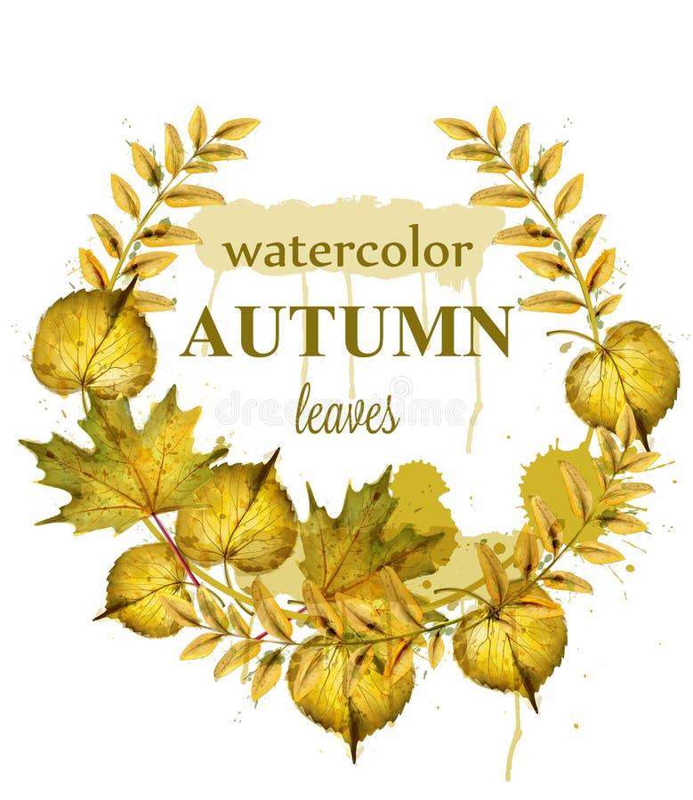 Jesień liści wianku wektor Akwarela wystroju tło Spadku sztandaru szablon złoty kolor ilustracja wektor