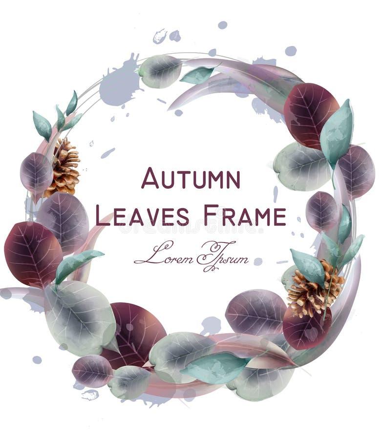Jesień liści wianku wektoru akwarela Round liścia ramy dekoracji szablony royalty ilustracja