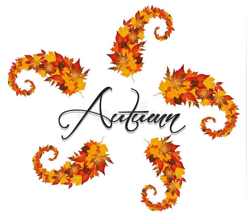 Jesień liści zawijasy ilustracji