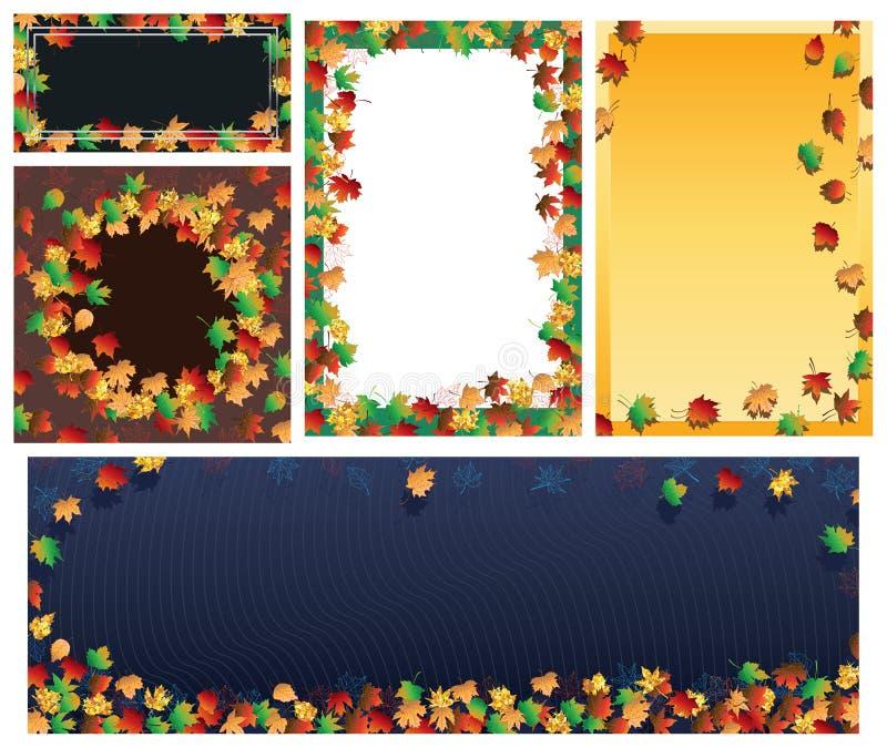 Jesień liścia ramy sztandaru set ilustracja wektor