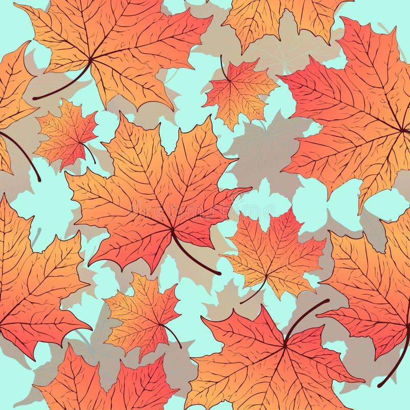 Jesień liście, bezszwowy wzór, wektorowy tło Żółty pomarańczowy liść klonowy na błękicie Dla projekta tapeta ilustracja wektor