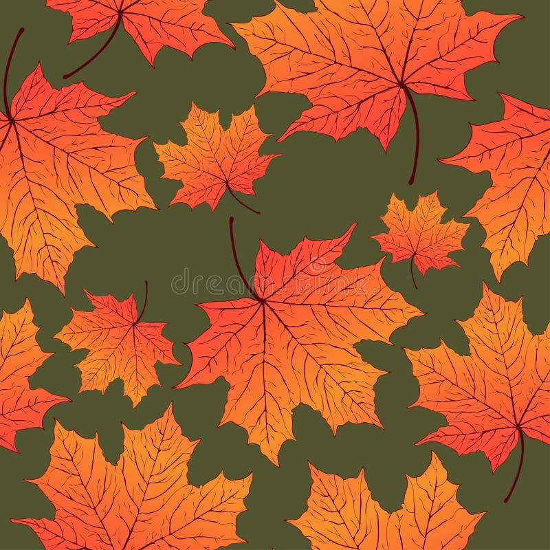 Jesień liście, bezszwowy wzór, wektorowy tło Żółty pomarańczowy liść klonowy na zieleni Dla projekta tapeta ilustracji