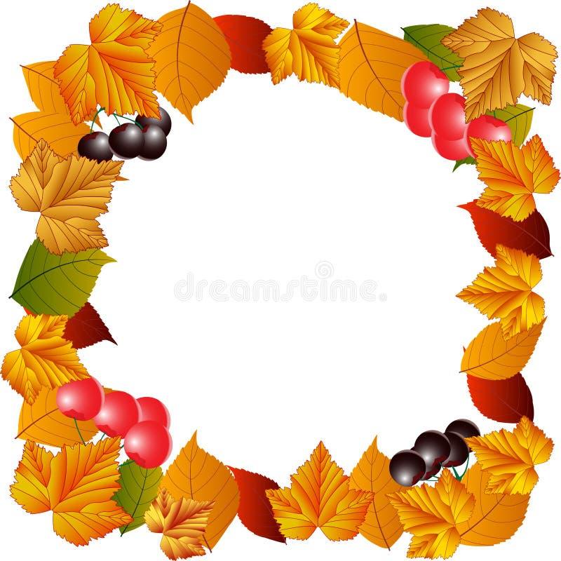 Jesień liście, jagody, rodzynki i wiśnie, ilustracja wektor