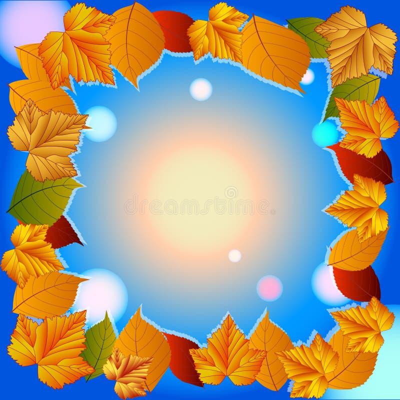 Jesień liście, jagody, rodzynki i wiśnie, ilustracji