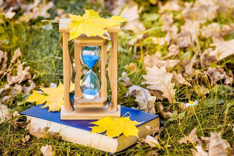 Jesień liście klonowi kłamają na piaska zegarze i książce w woods_ zdjęcie royalty free