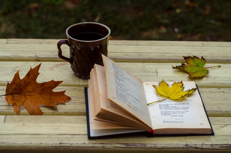 Jesień, liście klonowi, kubek, herbata zdjęcie stock