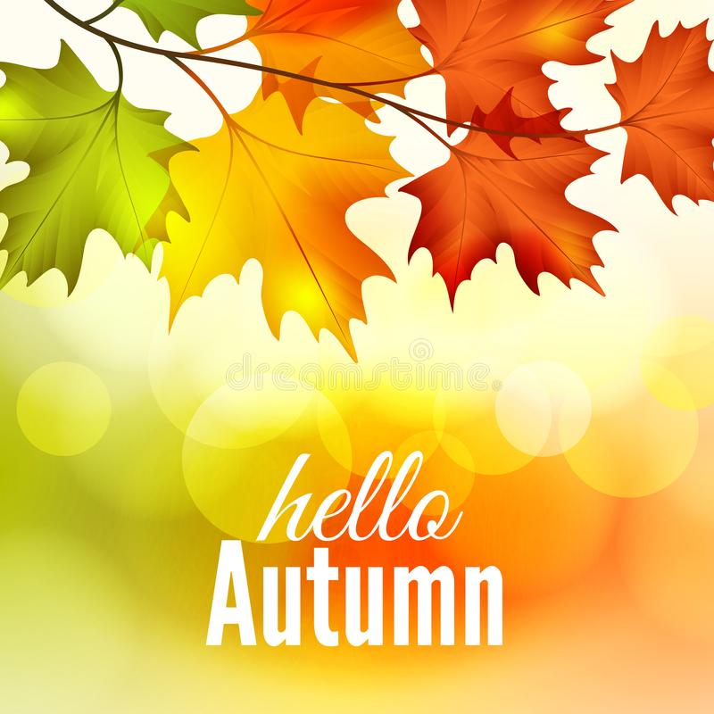 Jesień liście klonowi na bokeh tle ilustracja wektor