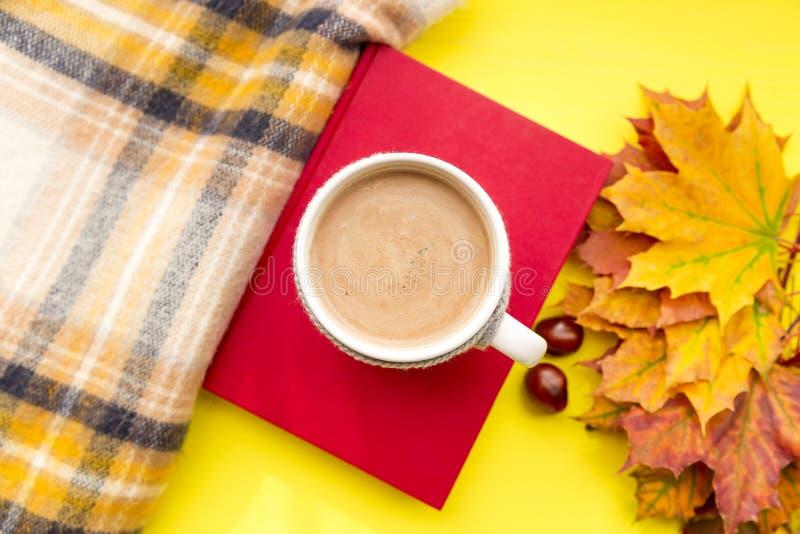 Jesień liście, książka, kasztan, szalik i filiżanka gorąca czekolada, Sezon jesienny, wolny czas i kawowej przerwy pojęcie, obraz stock