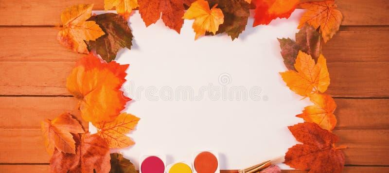 Jesień liście na papierze z akwareli farbą ilustracji
