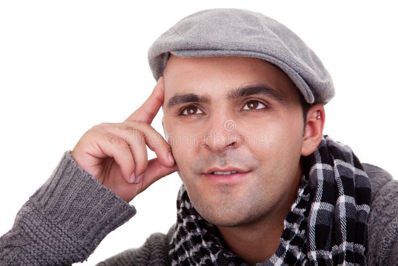 jesień mężczyzna portreta uśmiechnięci zima potomstwa zdjęcia stock