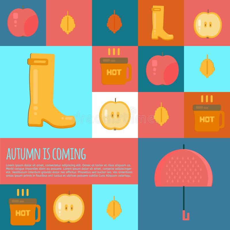 Jesień materiału ikony w mieszkanie stylu ilustracji