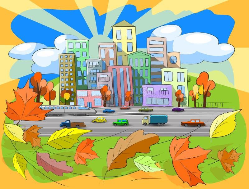 Jesień miasto ilustracji