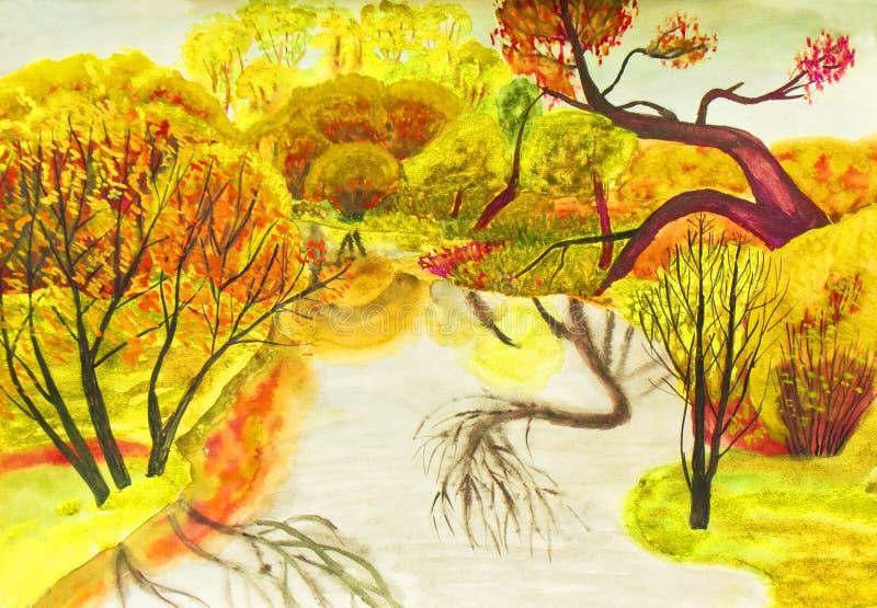 jesień obraz krajobrazu ilustracji