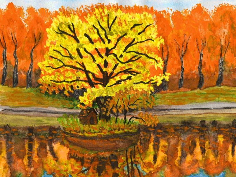 jesień obraz krajobrazu ilustracja wektor