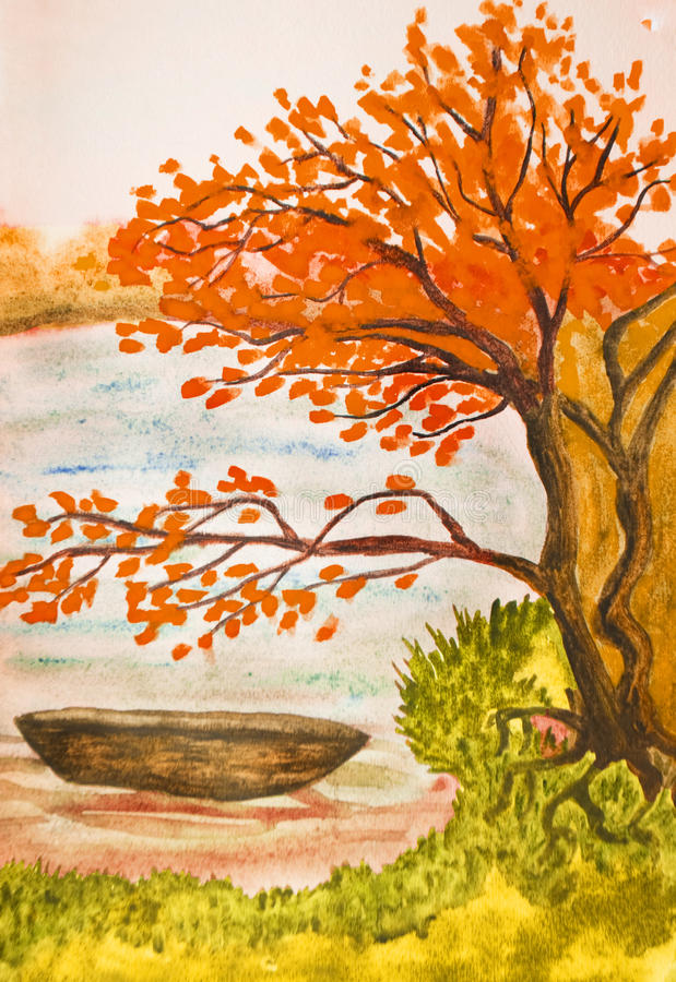 jesień obraz krajobrazu royalty ilustracja