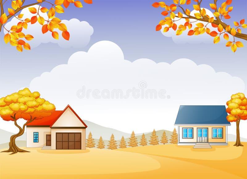 Jesień ogród z jaskrawymi ulistnień drzewami i dom ilustracji