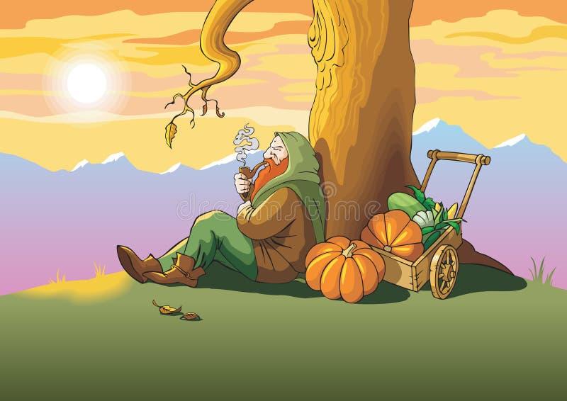 jesień ostatni liść ilustracji