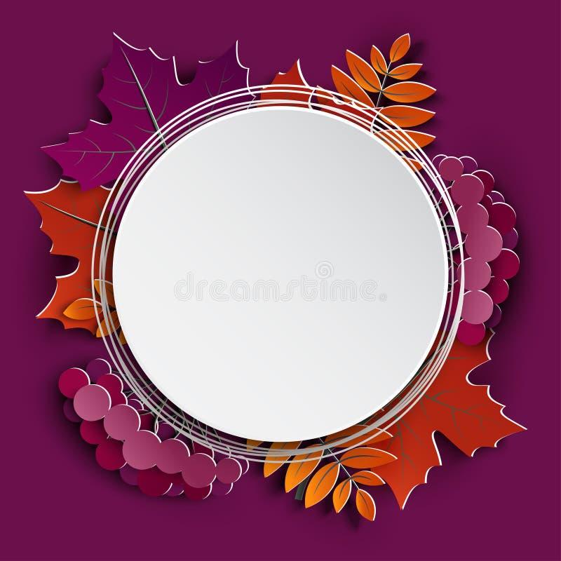 Jesień papieru cięcia kwiecista rama i papierowy kolorowy drzewo opuszczamy na purpurowym tle Jesienny projekt dla sezonu jesienn ilustracja wektor