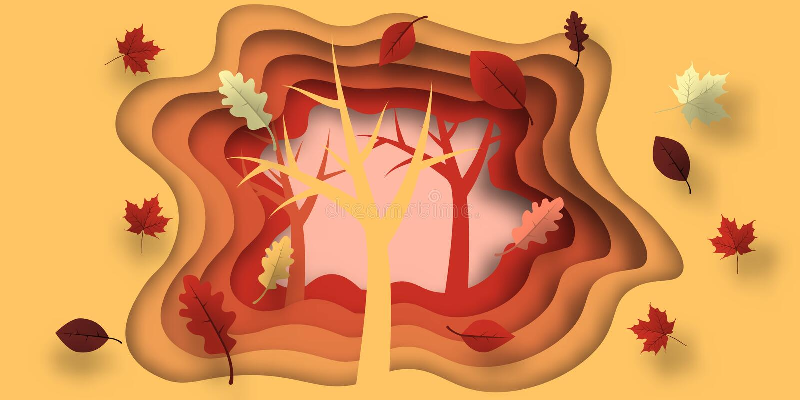 Jesień papieru cięcie z liśćmi i drzewem Abstrakcjonistyczny tło z kształtami w kolorze żółtym, pomarańcze, purpura barwi Projekt ilustracji