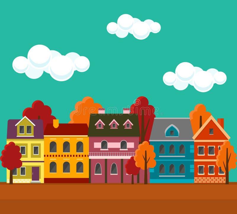 Jesień pejzaż miejski z ślicznymi kolorowymi domami ilustracji