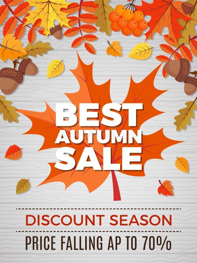 Jesień plakat sprzedaże Pomarańcze i żółci liści spadków obrazki natury jesień pomijamy wektorowego sztandar royalty ilustracja