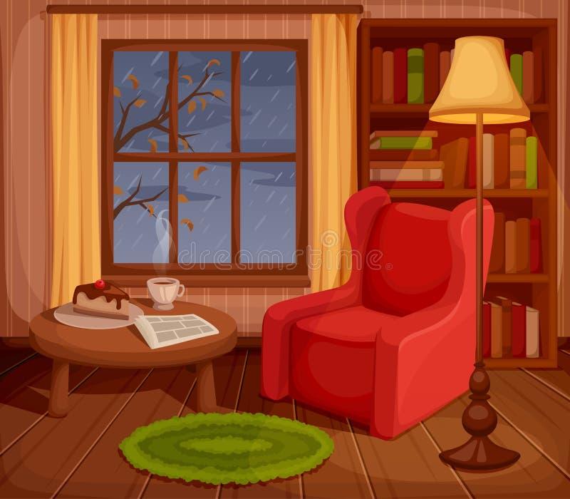 Jesień pokoju wnętrze również zwrócić corel ilustracji wektora ilustracja wektor