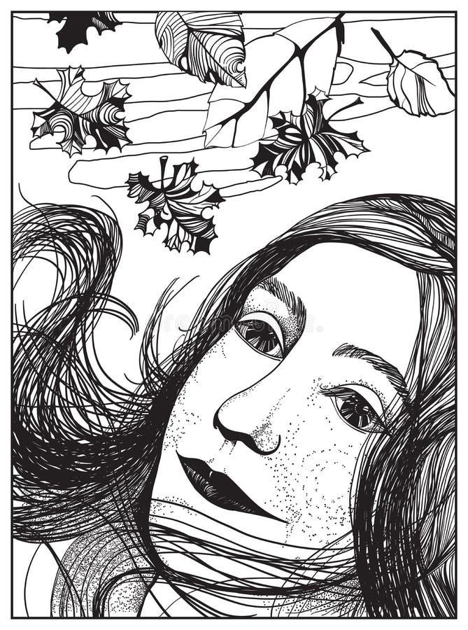 Jesień portret dziewczyna Czarny i biały ilustracja obraz royalty free