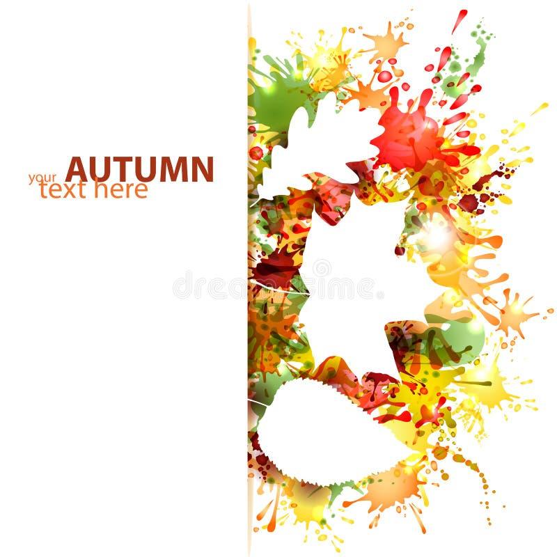 Jesień projekt z liśćmi na kolorowym kleksa tle royalty ilustracja