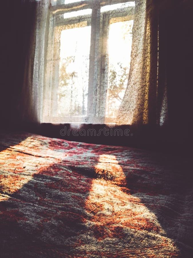 Jesień promienie słońce grżą dom od inside obraz royalty free