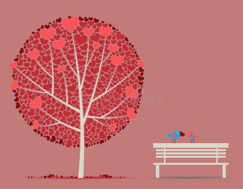 jesień ptaków pary miłości drzewo ilustracja wektor
