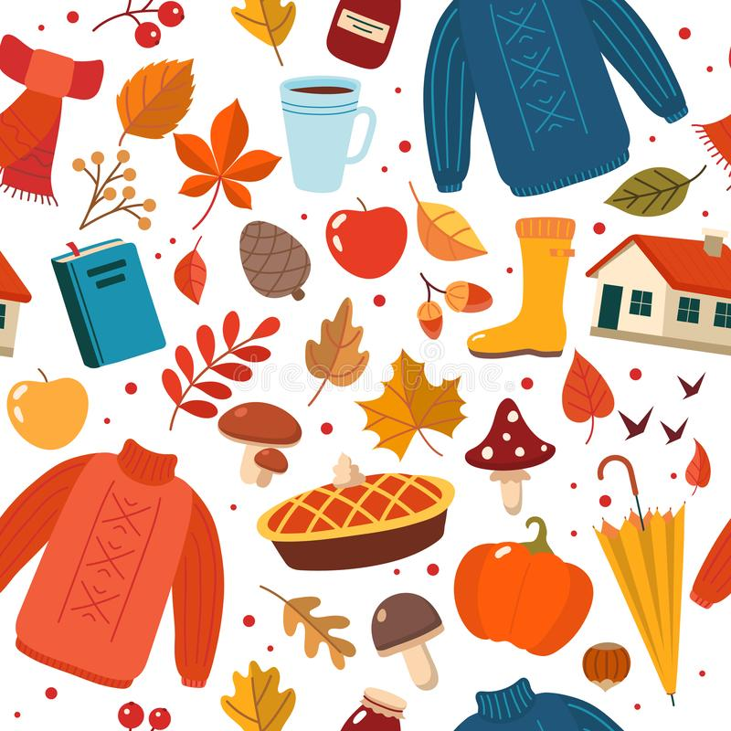Jesień ręka rysujący bezszwowy wzór z sezonowymi elementami na białym tle ?liczna wektorowa ilustracja w mieszkanie stylu royalty ilustracja