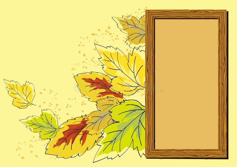 Jesień Rama Opuszczać Drewniany Obraz Stock
