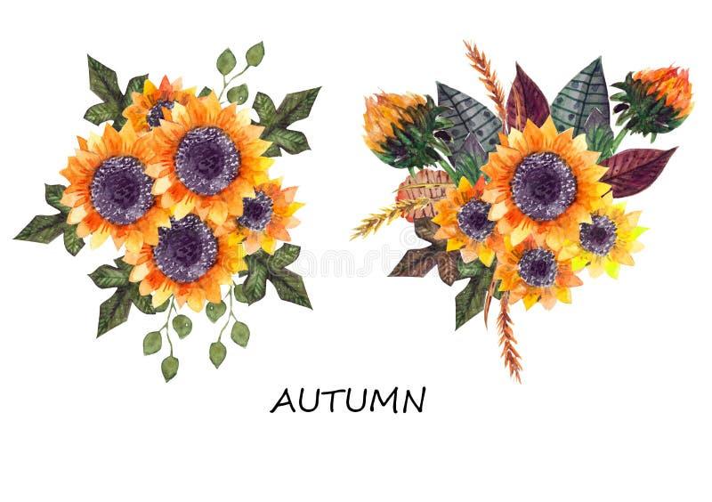Jesień słoneczników bukiet ilustracji