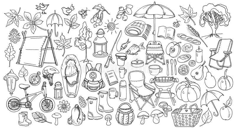 Jesień Set doodle Sztuka kreskowy styl wektor ilustracji