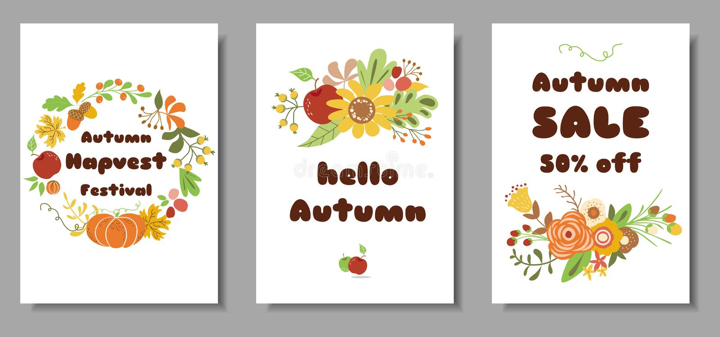 Jesień setu kart jesieni sprzedaży żniwa rynku projekta szablonu Śliczna ręka rysująca kwitnie liścia wianku kwiecistego wektor ilustracji
