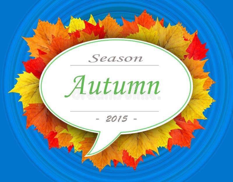Jesień sezon 2015 na liść chmurze z błękitnym tłem royalty ilustracja